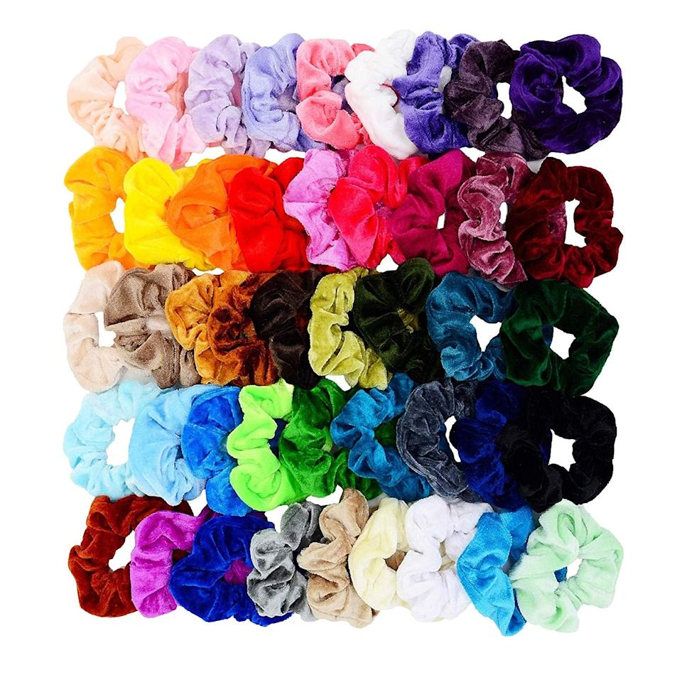 """<p><a href=""""https://www.popsugar.com/buy/Chloven-45-Piece-Hair-Scrunchies-Set-556253?p_name=Chloven%2045-Piece%20Hair%20Scrunchies%20Set&retailer=amazon.com&pid=556253&price=6&evar1=bella%3Auk&evar9=47301590&evar98=https%3A%2F%2Fwww.popsugar.com%2Fbeauty%2Fphoto-gallery%2F47301590%2Fimage%2F47301591%2FChloven-45-Piece-Hair-Scrunchies-Set&list1=shopping%2Chair%2Camazon%2Cbeauty%20products%2Chair%20accessories%2Ceditors%20pick%2Cbeauty%20shopping%2Cproduct%20reviews%2Cscrunchies%2Caffordable%20shopping&prop13=api&pdata=1"""" rel=""""nofollow"""" data-shoppable-link=""""1"""" target=""""_blank"""" class=""""ga-track"""" data-ga-category=""""Related"""" data-ga-label=""""https://www.amazon.com/gp/product/B07KC2TH9Z/ref=ppx_yo_dt_b_search_asin_title?ie=UTF8&amp;psc=1"""" data-ga-action=""""In-Line Links"""">Chloven 45-Piece Hair Scrunchies Set</a> ($6)</p>"""