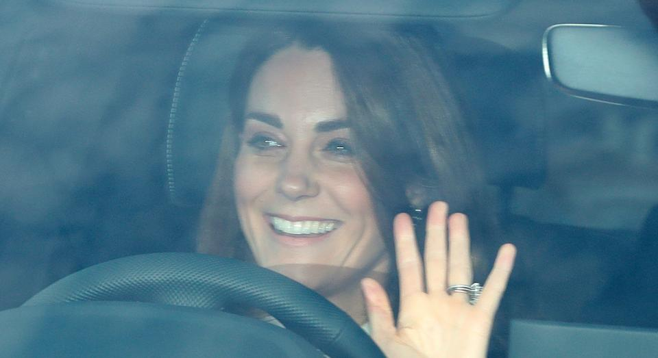 The Duchess of Cambridge arrives for the Queen's Christmas lunch at Buckingham Palace. [Photo: PA]