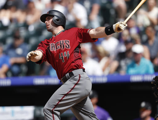 "<a class=""link rapid-noclick-resp"" href=""/mlb/teams/ari"" data-ylk=""slk:Arizona Diamondbacks"">Arizona Diamondbacks</a>' <a class=""link rapid-noclick-resp"" href=""/mlb/players/8967/"" data-ylk=""slk:Paul Goldschmidt"">Paul Goldschmidt</a> highlights this week's look at fantasy risers and fallers (AP Photo)."