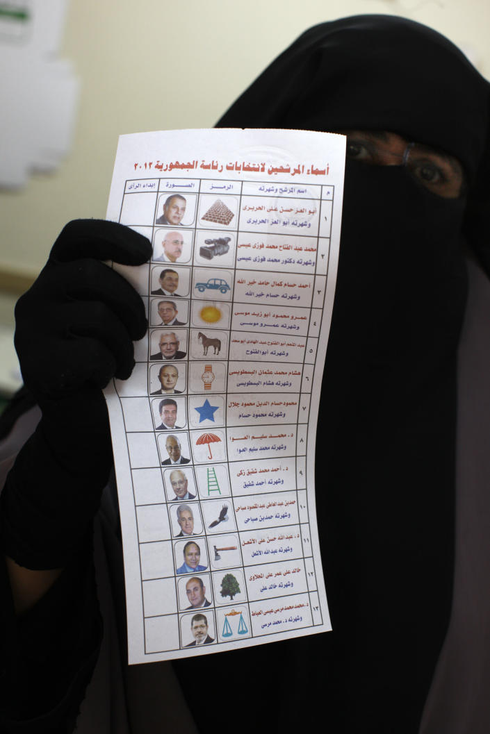 An Egyptian woman holds the ballot paper with names of the 13 presidential candidates at a polling station in Mataraya neighborhood of Cairo, Egypt, Thursday, May 24, 2012. Egyptians voted Thursday on the second day of a landmark presidential election that will produce a successor to longtime authoritarian ruler Hosni Mubarak. (AP Photo/Fredrik Persson)
