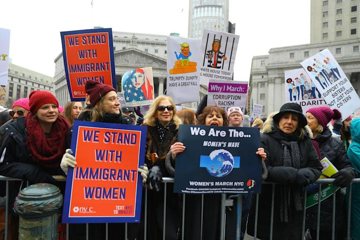 Protesters hold signs during the Women's Unity Rally at Foley Square on Jan. 19, 2019 in New York City. (Photo: Gordon Donovan/Yahoo News)