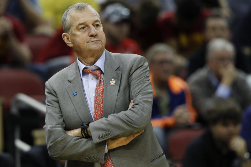 FILE - In this March 15, 2012, file photo, Connecticut head coach Jim Calhoun watches from the sidline in the first half of their second-round NCAA tournament college basketball game against Iowa State in Louisville, Ky. Calhoun is expected to announce his retirement on Thursday, Sept. 13, according to a person familiar with the situation. (AP Photo/John Bazemore, File)