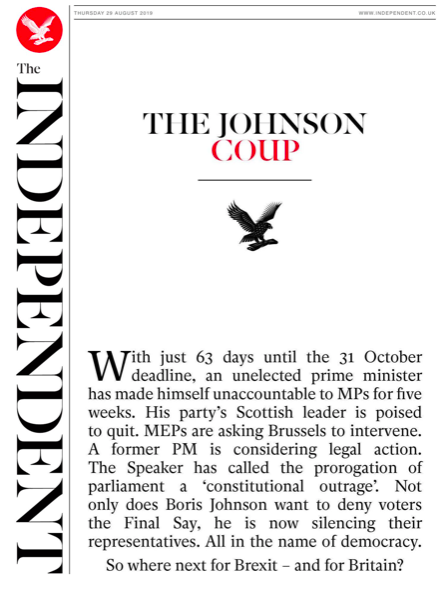 "The Independent captured the mood for several titles under a stark headline, on an otherwise white top half of its front page, dubbing the episode ""The Johnson Coup"". (Twitter)"