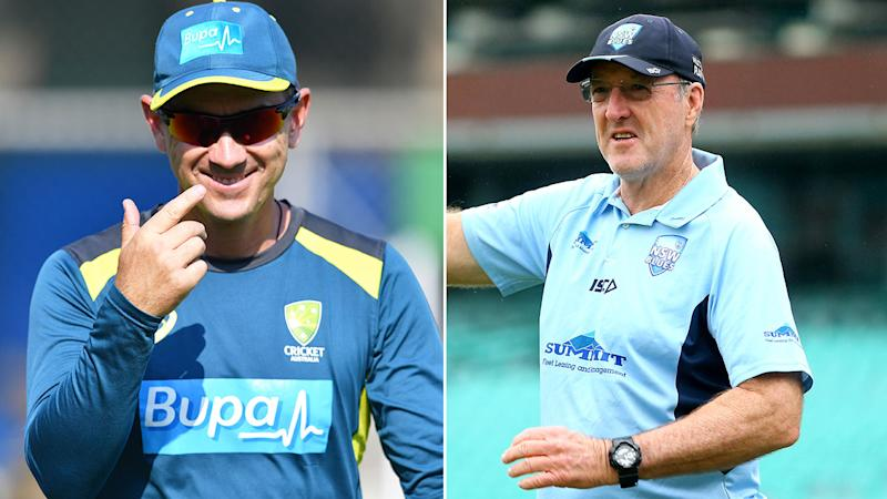 Seen here, Australia coach Justin Langer and Geoff Lawson have differing opinions on national selections.