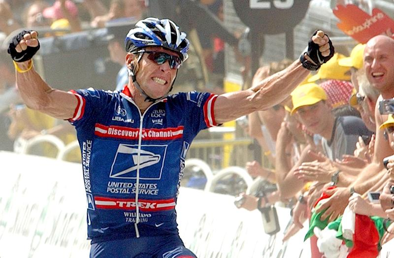 FILE - In this July 20, 2004 file photo, Lance Armstrong reacts as he crosses the finish line to win the 15th stage of the Tour de France cycling race between Valreas, southern France, and Villard-de-Lans, French Alps. Armstrong is facing the federal government in a legal fight with tens of millions of dollars at stake, and a loss could bankrupt the cyclist who until last year ranked among the wealthiest and most popular athletes in the world.  (AP Photo/Peter Dejong, File)
