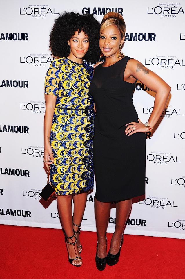 "<p class=""MsoNormal"">Solange Knowles and Mary J. Blige struck a pose together Monday night at the 22nd Annual Glamour Women of the Year Awards at Carnegie Hall in New York City. Beyonce's little sister looked particularly ""glamorous"" in a crocheted Derek Lam dress! (11/12/12)</p>"