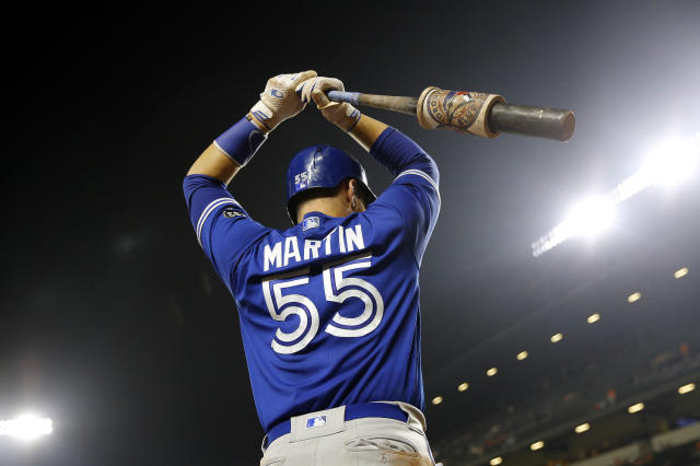 Toronto Blue Jays' Russell Martin prepares for an at-bat during a baseball game against the Baltimore Orioles, Monday, Aug. 27, 2018, in Baltimore. (AP Photo/Patrick Semansky)