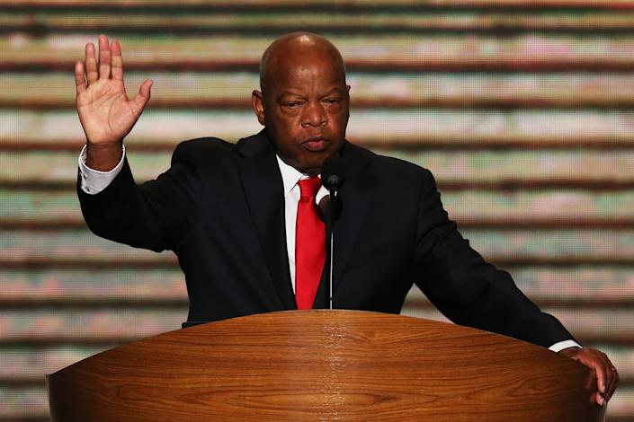 CHARLOTTE, NC - SEPTEMBER 06: U.S. Rep. John Lewis (D-GA) speaks on stage during the final day of the Democratic National Convention at Time Warner Cable Arena on September 6, 2012 in Charlotte, North Carolina. The DNC, which concludes today, nominated U.S. President Barack Obama as the Democratic presidential candidate. (Photo by Alex Wong/Getty Images)