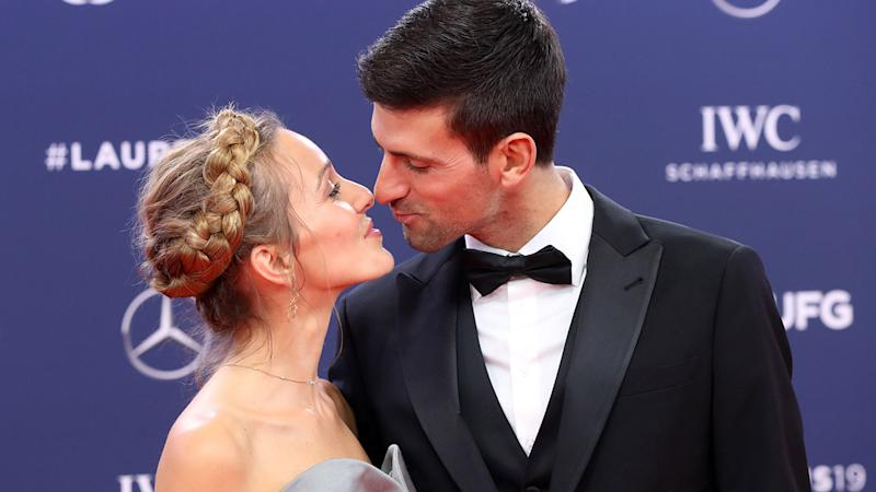 Novak and Jelena Djokovic, pictured here at the Laureus Sport Awards in 2019.
