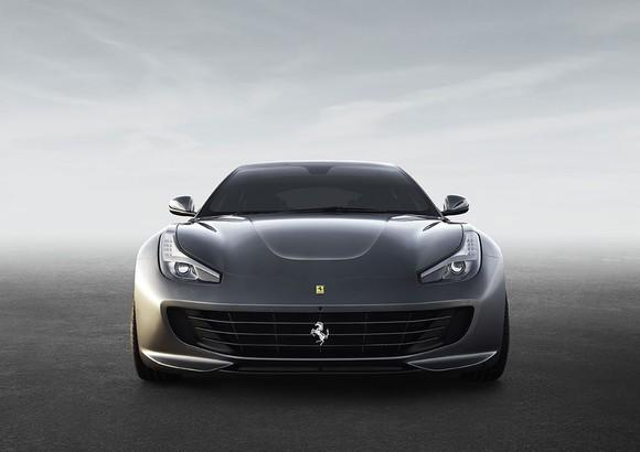 Front view of a grey Ferrari sports car.