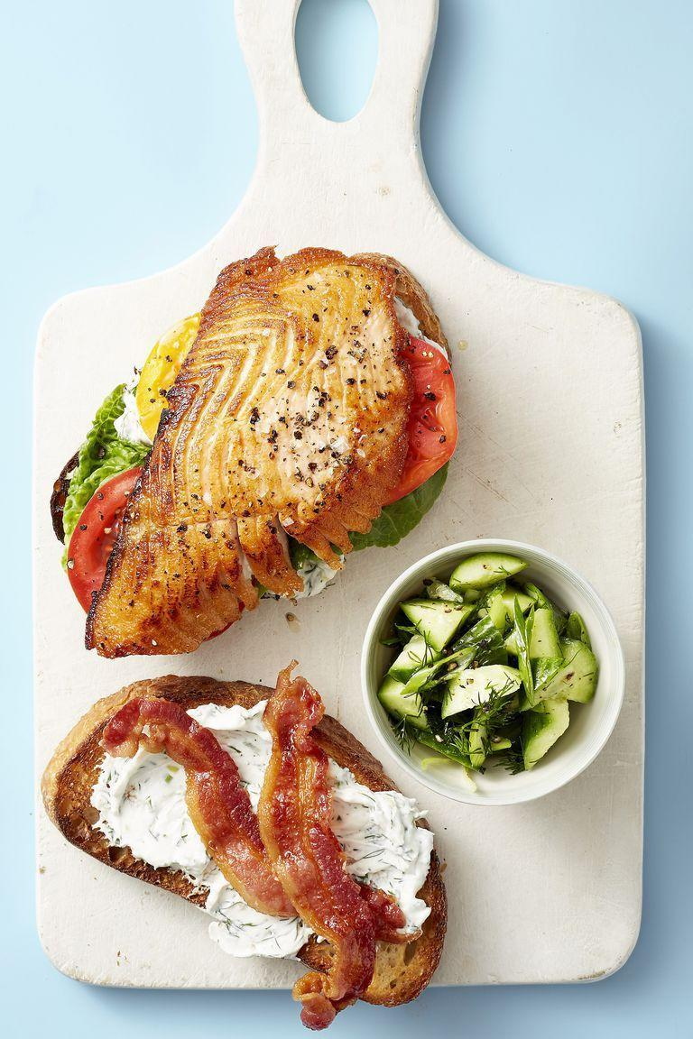 """<p>BLTs are great and all, but they aren't necessarily full of all the nutrients you need to keep going. This salmon version, on the other hand, totally is. </p><p><em><a href=""""https://www.goodhousekeeping.com/food-recipes/easy/a22566380/salmon-blt-recipe/"""" rel=""""nofollow noopener"""" target=""""_blank"""" data-ylk=""""slk:Get the recipe for Salmon BLT »"""" class=""""link rapid-noclick-resp"""">Get the recipe for Salmon BLT »</a></em></p><p><strong>RELATED: </strong><a href=""""https://www.goodhousekeeping.com/food-recipes/cooking/g4679/how-to-cook-bacon-in-the-oven/"""" rel=""""nofollow noopener"""" target=""""_blank"""" data-ylk=""""slk:How to Cook Perfectly Crispy Bacon in the Oven"""" class=""""link rapid-noclick-resp"""">How to Cook Perfectly Crispy Bacon in the Oven</a><br></p>"""