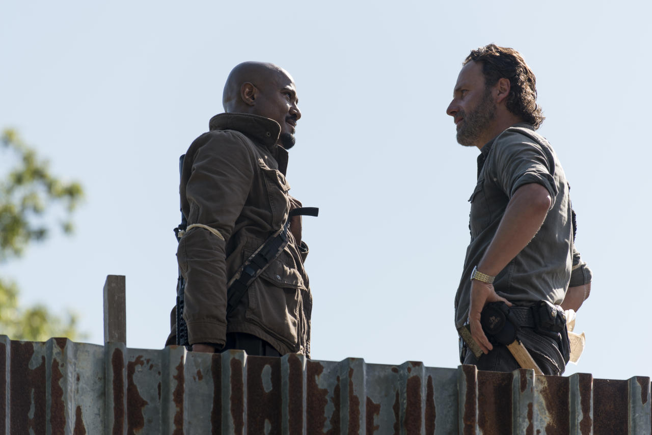 <p>Seth Gilliam as Father Gabriel Stokes and Andrew Lincoln as Rick Grimes in <i>The Walking Dead</i> Season 8, Episode 1.<br />(Photo: Gene Page/AMC) </p>