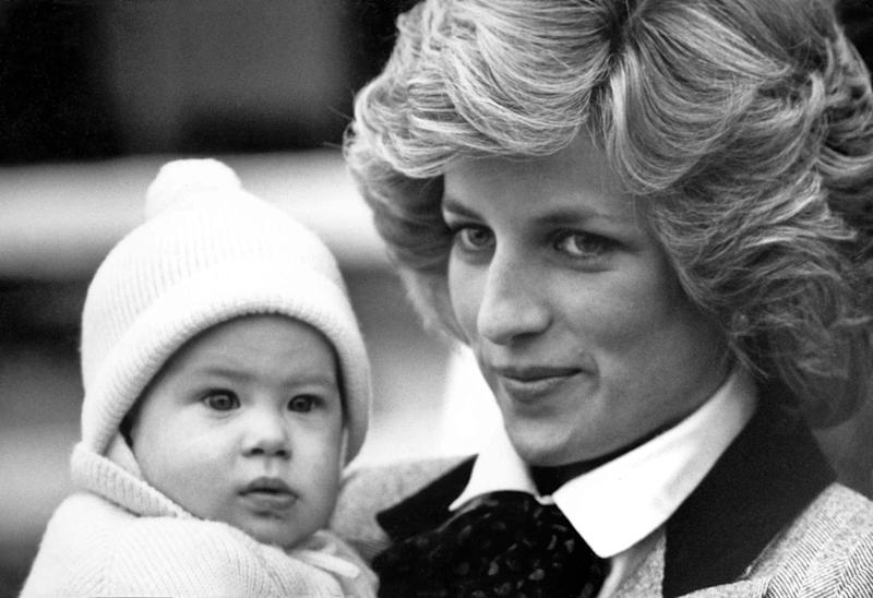 Prince Harry as a baby with his mother Princess Diana (Getty)