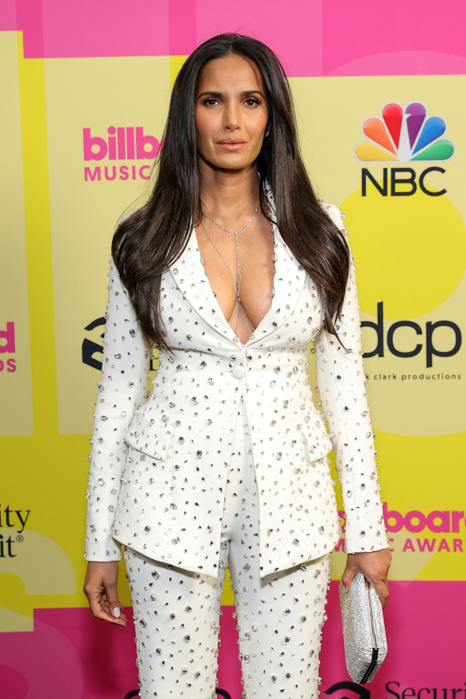 LOS ANGELES, CALIFORNIA - MAY 23: Padma Lakshmi poses backstage for the 2021 Billboard Music Awards, broadcast on May 23, 2021 at Microsoft Theater in Los Angeles, California. (Photo by Rich Fury/Getty Images for dcp)