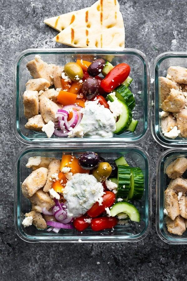 """<p>These Greek chicken bowls are anything but boring! With crunchy cucumbers, salty olives, tender chicken, and a tangy tzatziki, you'll come back to this recipe week after week.</p> <p><strong>Get the recipe:</strong> <a href=""""https://sweetpeasandsaffron.com/greek-chicken-meal-prep-bowls/"""" class=""""link rapid-noclick-resp"""" rel=""""nofollow noopener"""" target=""""_blank"""" data-ylk=""""slk:Greek chicken bowls"""">Greek chicken bowls</a></p>"""
