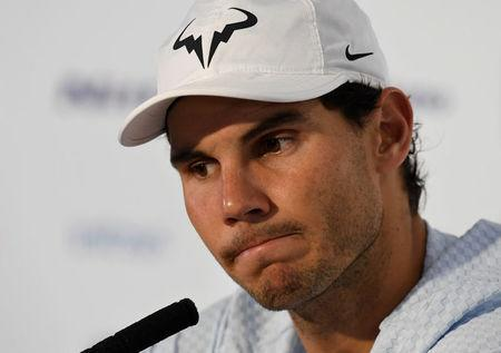 Tennis - ATP World Tour Finals - The O2 Arena, London, Britain - November 13, 2017 Spain's Rafael Nadal during a press conference after losing his group stage match against Belgium's David Goffin Action Images via Reuters/Tony O'Brien