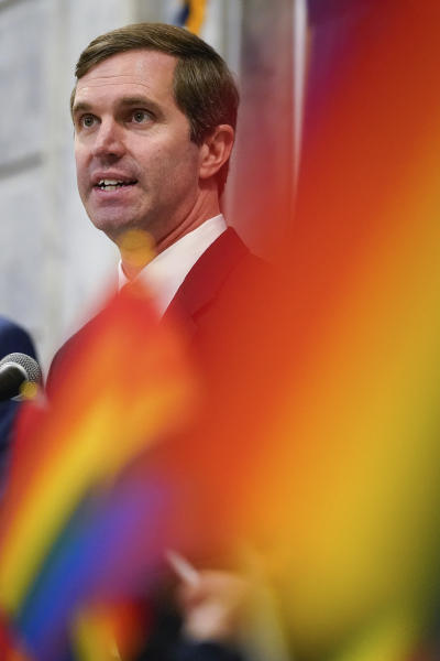 Kentucky Democratic Gov. Andy Beshear speaks at a rally held by Fairness Campaign to advance LGBTQ rights, in the Rotunda at the State Capitol, Frankfort, Ky.,on Wednesday, Feb. 19, 2020. (AP Photo/Bryan Woolston)