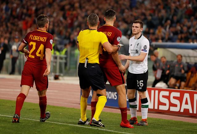 Soccer Football - Champions League Semi Final Second Leg - AS Roma v Liverpool - Stadio Olimpico, Rome, Italy - May 2, 2018 Roma's Konstantinos Manolas clashes with Liverpool's Andrew Robertson and is then shown a yellow card by referee Damir Skomina Action Images via Reuters/John Sibley