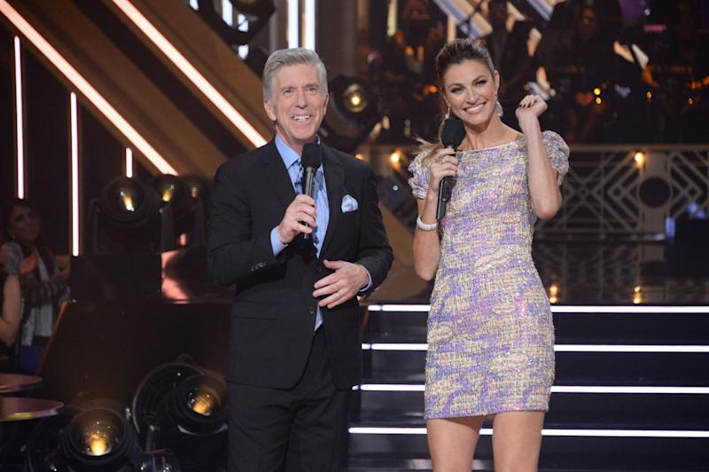 "Tom Bergeron and Erin Andrews host a November 2019 episode of ""Dancing With the Stars."" (Photo: Eric McCandless/ABC via Getty Images)"