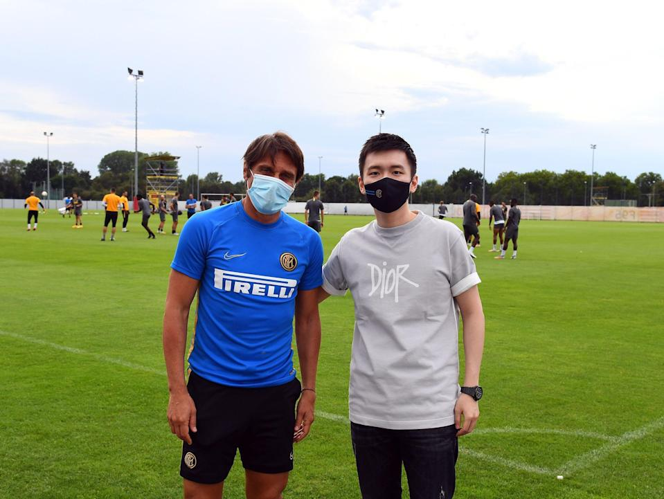 DUESSELDORF, GERMANY - AUGUST 16:  President FC Internazionale Steven Zhang Kangyang and head coach FC Internazionale Antonio Conte pose for a photo before a training session on August 16, 2020 in Duesseldorf, Germany.  (Photo by Claudio Villa - Inter/Inter via Getty Images) (Photo: Claudio Villa - Inter via Inter via Getty Images)