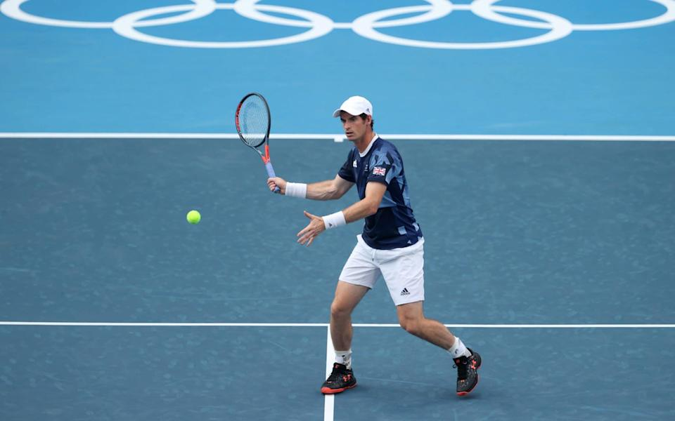 Andy Murray of Team Great Britain plays a forehand during the practice session ahead of the Tokyo 2020 Olympic Games at Ariake Tennis Park on July 22, 2021 in Tokyo, Japan. - GETTY IMAGES