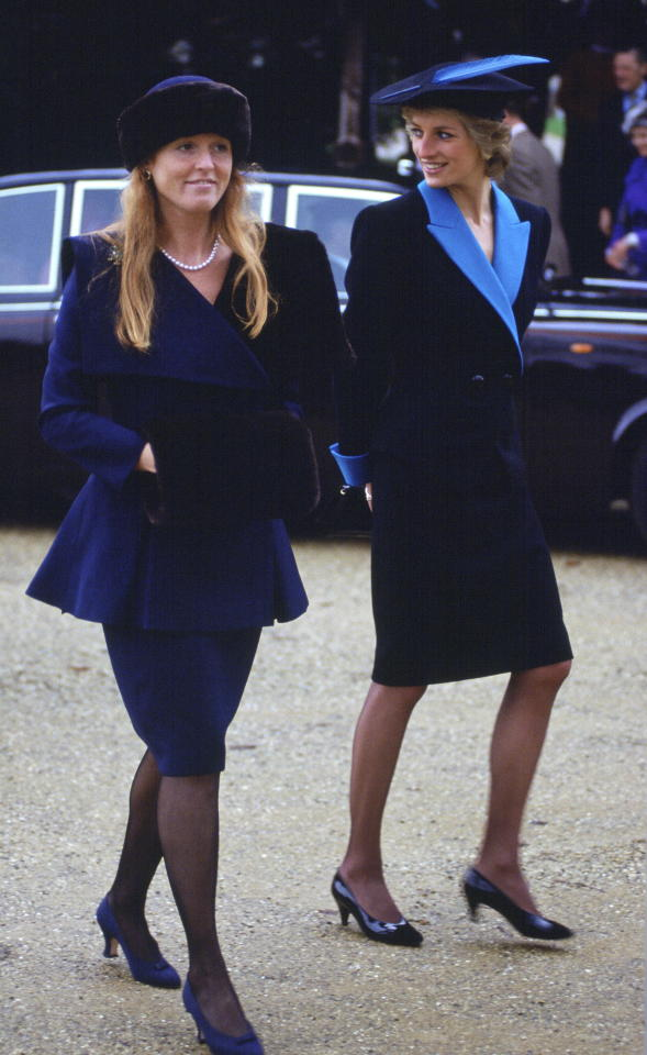 <p>Diana and Sarah Ferguson looked like two peas in a pod when they arrived in matching outfits for Christmas Day at Sandringham in 1988. Photo: Getty Images </p>