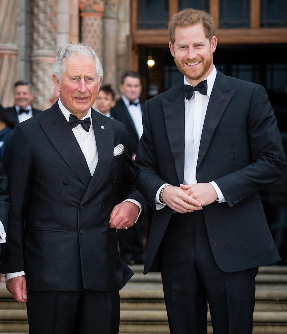 rince Charles, Prince of Wales and Prince Harry, Duke of Sussex attend the