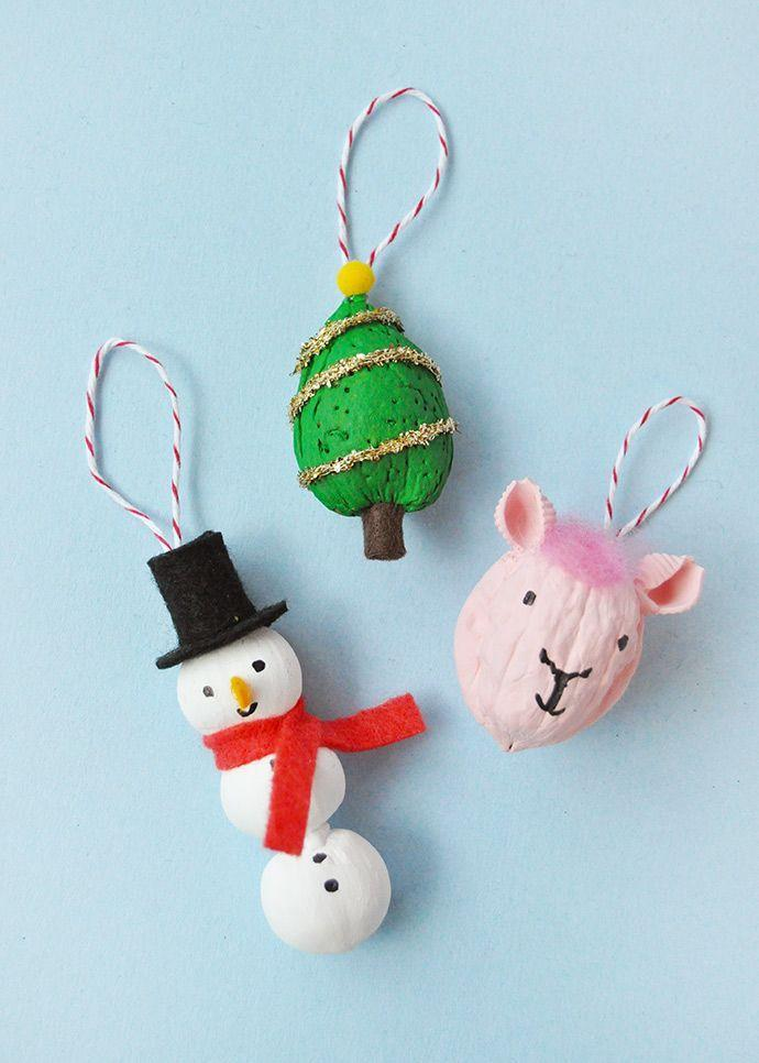"""<p>Nothing says Christmas more than snowmen, decorated trees, and...llamas? Why not! Your kids will love painting these cute ornaments made out of assorted nuts.</p><p><strong>Get the tutorial at <a href=""""https://www.handmadecharlotte.com/painted-nut-ornaments/"""" rel=""""nofollow noopener"""" target=""""_blank"""" data-ylk=""""slk:Handmade Charlotte"""" class=""""link rapid-noclick-resp"""">Handmade Charlotte</a>.</strong></p><p><strong><a class=""""link rapid-noclick-resp"""" href=""""https://www.amazon.com/flic-flac-inches-Assorted-Fabric-Patchwork/dp/B01GCRXBVE/ref=sr_1_4?tag=syn-yahoo-20&ascsubtag=%5Bartid%7C10050.g.1070%5Bsrc%7Cyahoo-us"""" rel=""""nofollow noopener"""" target=""""_blank"""" data-ylk=""""slk:SHOP FELT"""">SHOP FELT</a><br></strong></p>"""