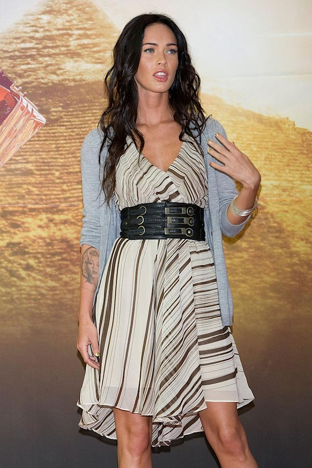"""<a href=""""http://movies.yahoo.com/movie/contributor/1808488000"""">Megan Fox</a> at the Korean press conference for <a href=""""http://movies.yahoo.com/movie/1809943432/info"""">Transformers: Revenge of the Fallen</a> - 06/10/2009"""