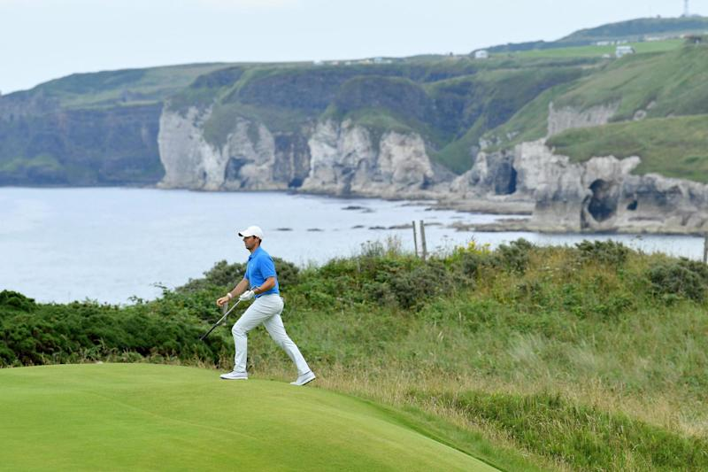 McIlroy walks around the course during a practice round Photo: Stuart Franklin/Getty Images