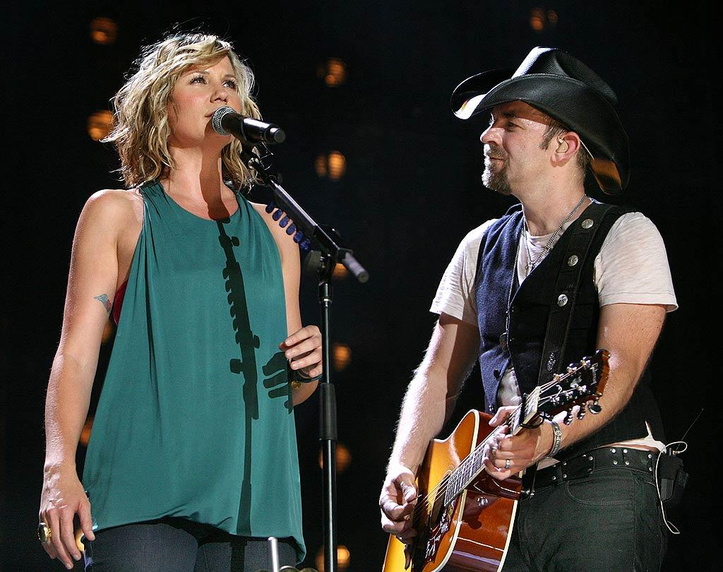 "Sugarland's Jennifer Nettles and Kristian Bush treat the crowd to their heart-wrenching no. 1 hit, ""Stay."" Tony R. Phipps/<a href=""http://www.wireimage.com"" target=""new"">WireImage.com</a> - June 5, 2008"
