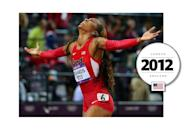 Jamaican-American track star Sanya Richards-Ross memorably competed in the 2012 London Olympics wearing all red. Her uniform included compression sleeves, used to cover lesions on her skin from a rare disease the Olympian battles with. (Getty Images)