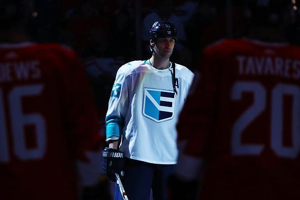 TORONTO, ON - SEPTEMBER 27: Zdeno Chara #33 of Team Europe stands during introductions prior to the game against Team Canada during Game One of the World Cup of Hockey final series at Air Canada Centre on September 27, 2016 in Toronto, Canada. (Photo by Bruce Bennett/Getty Images)