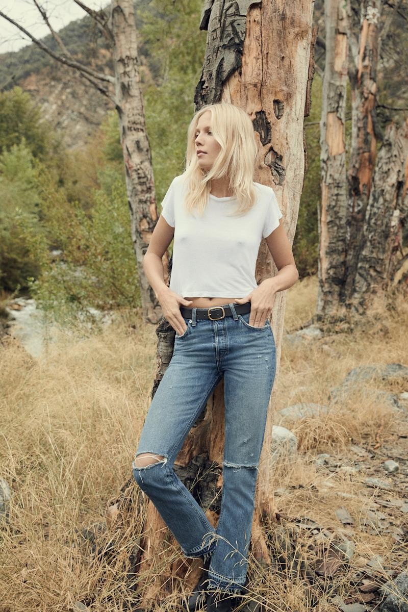 """Winona Mid Slim Jean in celtic, <a href=""""https://www.thereformation.com/refjeans"""" target=""""_blank"""">$128 at Reformation</a>. (Reformation)"""