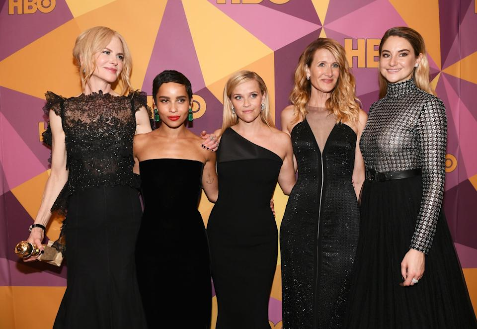 Nicole Kidman, Zoe Kravitz, Reese Witherspoon, Laura Dern and Shailene Woodley - the stars of Big Little Lies wear blackGetty Images