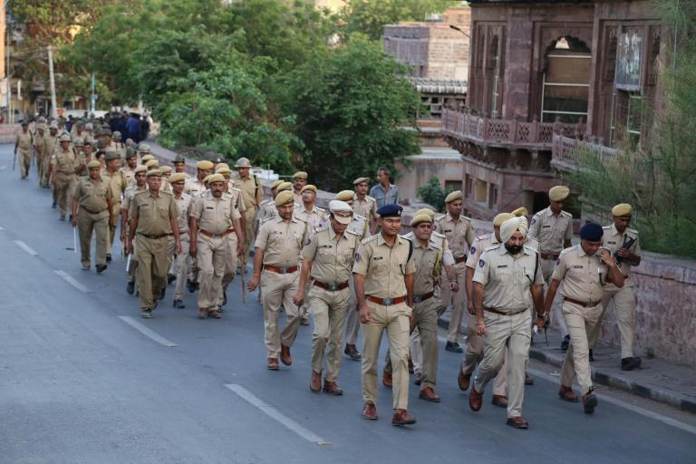 Police and army personnel on patrol in Jodhpur ahead of the verdict