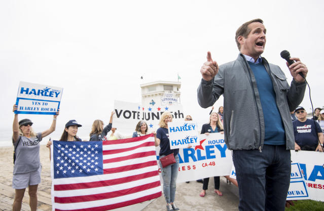 Harley Rouda, a Democrat running for California's 48th Congressional District, speaks during a campaign rally in Laguna Beach, Calif., on May 20, 2018. (Photo: Bill Clark/CQ Roll Call via Getty Images)