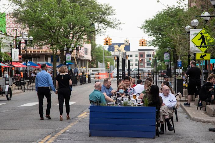 South Main Street's outdoor dining scene in downtown Ann Arbor in May.