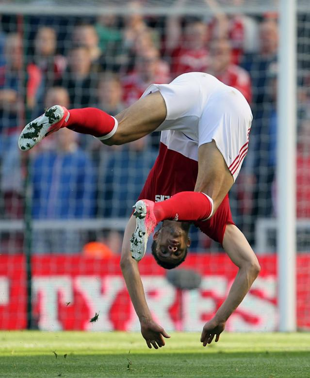 <p>Boro striker Rudy Gestede takes a tumble</p>