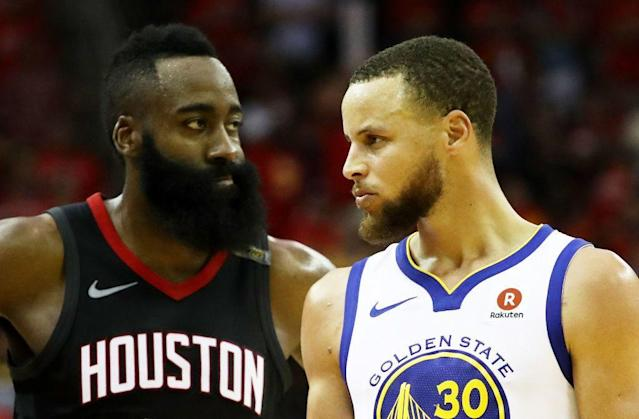 "James Harden. <a class=""link rapid-noclick-resp"" href=""/nba/players/4612/"" data-ylk=""slk:Stephen Curry"">Stephen Curry</a>. Man, this is going to be fun. (Getty Images)"