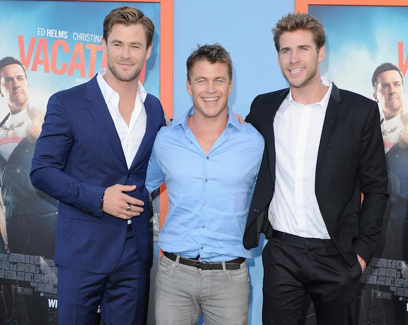 chris liam and luke hemsworth hit the red carpet