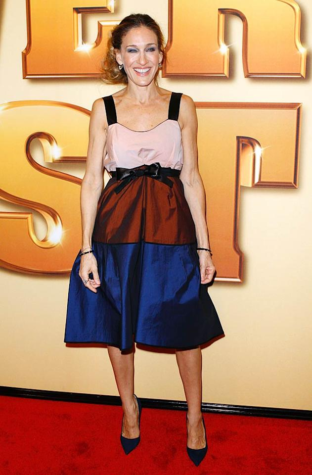 """Speaking of fashion flubs, check out the Narciso Rodriguez wreck Sarah Jessica Parker sported to the NYC premiere of """"Tower Heist."""" The style icon -- who rarely disappoints on the red carpet -- appeared overwhelmed by the baggy, color-blocked frock. Unfortunate eyeshadow and a messy mane didn't help matters. (10/24/11)"""