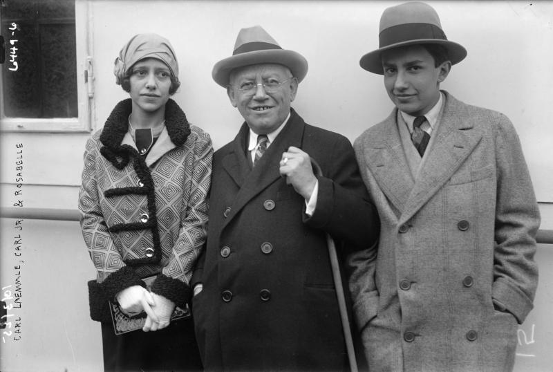 """In this undated photo provided by the Museum of Jewish Heritage - A Living Memorial to the Holocaust, Carl Laemmle is shown with his children, Rosabelle and Carl Jr. Laemmle was the founder of Universal Pictures and used his connections and resources to help bring Jews over from Europe after the rise of the Nazis. An exhibition opening at the museum on Tuesday, May 21, 2013 called """"Against All Odds: American Jews and the Rescue of Europe's Refugees, 1933-1941,"""" documents efforts by Laemmle and others to get Jews out of Nazi-era Europe despite strict immigration quotas in the U.S. (AP Photo/Museum of Jewish Heritage/George Grantham Bain Collection, Library of Congress)"""