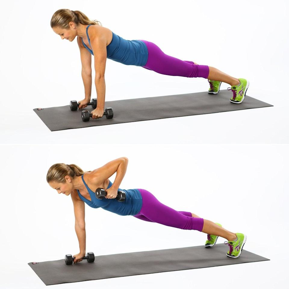 <ul> <li>Start in a plank position with your legs wider than hip-width distance; the wider stance makes you more stable. Hold onto your dumbbells, keeping your wrist locked to protect the joint. </li> <li>With your core tight and your glutes engaged, exhale, stabilizing your torso as you lift your right elbow to row; feel your right scapula sliding toward your spine as you bend your elbow up toward the ceiling.</li> <li>Keeping your neck long and energized, return the weight to the ground to complete the rep.</li> </ul>