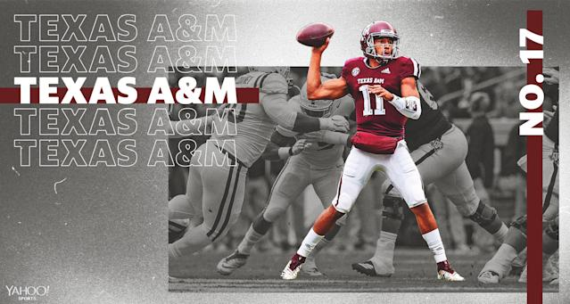 "How will Texas A&M and QB <a class=""link rapid-noclick-resp"" href=""/ncaaf/players/274896/"" data-ylk=""slk:Kellen Mond"">Kellen Mond</a> do in year 2 of the Jimbo Fisher era? (Amber Matsumoto/Yahoo Sports)"