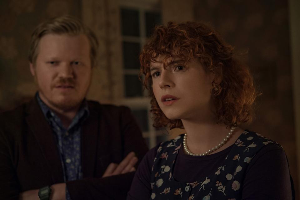 """Jessie Buckley, right, with Jesse Plemons in """"I'm Thinking of Ending Things."""""""