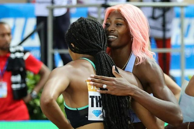 Social distancing: Monaco hopes to hold a 'traditional' meeting but perhaps some things will change, last year winner Shaunae Miller-Uibo, with the pink hair, hugged Elaine Thompson after the women's 200m (AFP Photo/Valery HACHE)