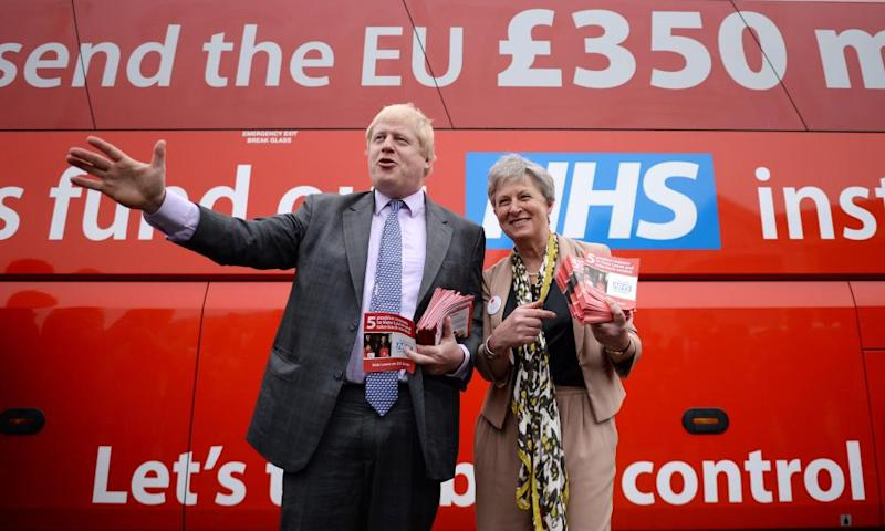 Boris Johnson MP with the leave campaign bus during the EU referendum campaign.