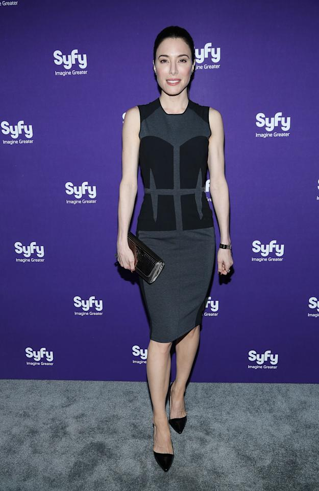 "NEW YORK, NY - APRIL 10:  Jaime Murray of ""Defiance"" attends Syfy 2013 Upfront at Silver Screen Studios at Chelsea Piers on April 10, 2013 in New York City.  (Photo by Rob Kim/Getty Images)"