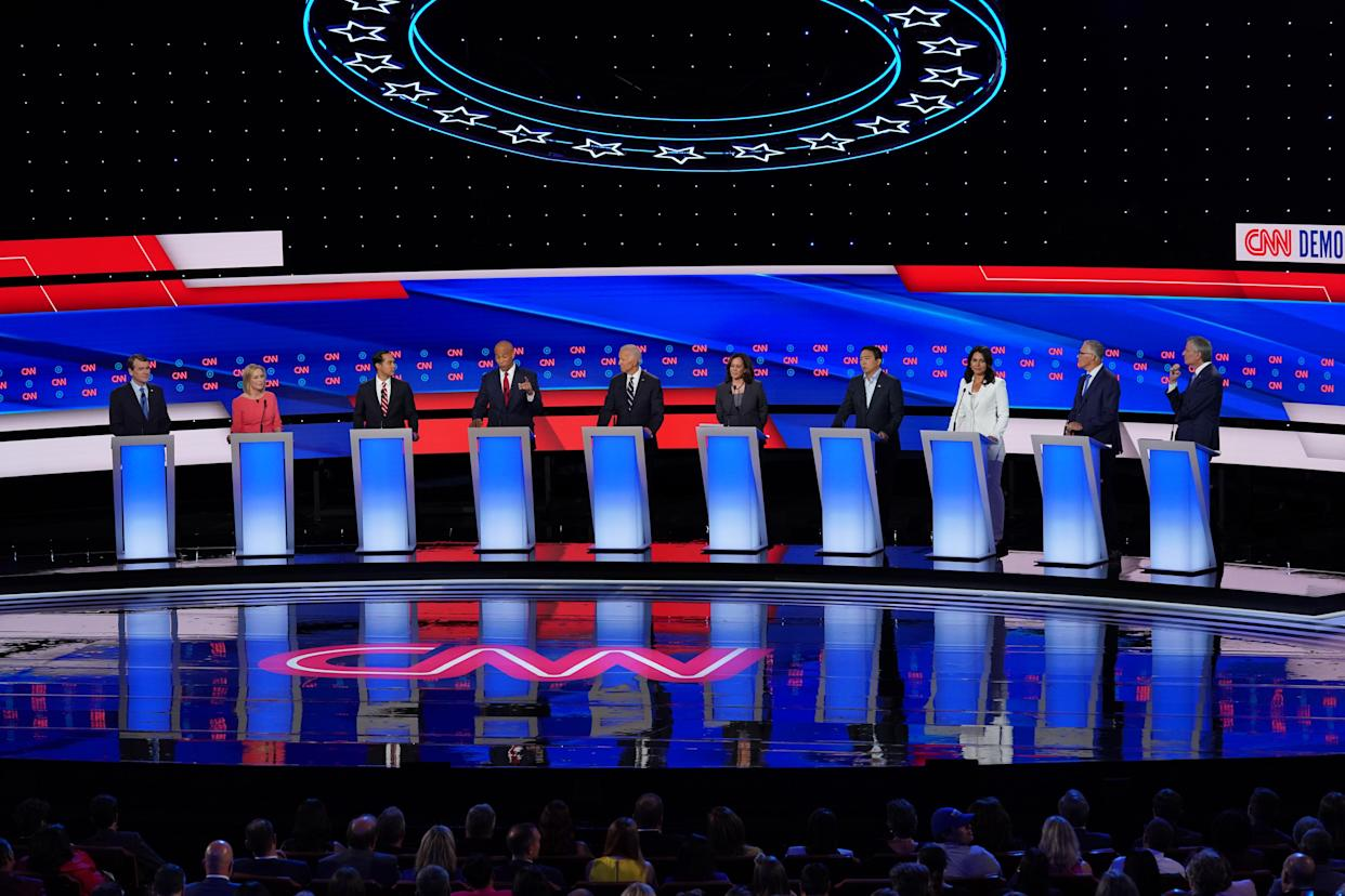 Democratic candidates at a debate in Detroit last month. (Photo by Scott Olson/Getty Images)